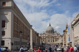 Looking up to St Peter's Basilica and Square