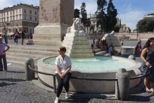 At the fountain in the Piaza del Popolo