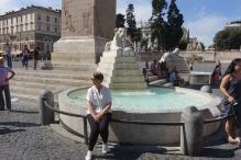 At the fountain in the Piaza del Popolo